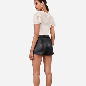 Express Shorts - Express vegan leather, mid-rise pleated shorts